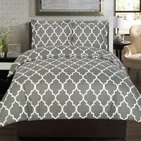 Duvet Cover Set Grey 3 Piece Queen Size Velvety Microfiber Twin Soft Blanket Bed