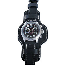 22mm Fluco Bund German Made Black Leather Pilot Military Cuff Watch Band Strap