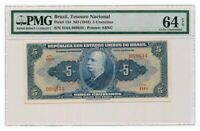 BRAZIL banknote 5 Cruzeiros 1943 PMG MS-64 EPQ