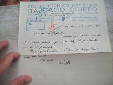 1932 CAGLIARI:  LETTERA DEL GRANDE INCISORE E INTAGLIATORE SARDO GAETANO CIUFFO