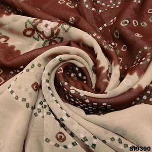 Bandhani Saree Georgette Silk Fabric Vintage Brown Printed Craft Sari SI9390