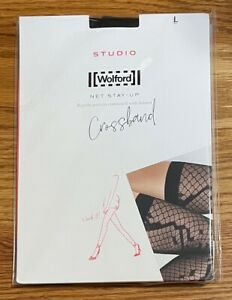 Wolford Crossband Net Stay-Up Stockings Black Size L Brand New & Free Ship