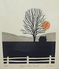 Framed Vintage MCM Modern John Sovjani 1980 Signed Lim.Ed. Lithograph Sun Tree