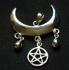 Plata esterlina 925 Colgante Wiccan Luna bendición con pentagrama/Pagano/Bruja/Goth