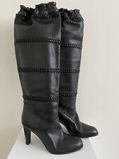 Coach Knee-High Black Leather Boots SZ 8.5 B . High Heels Shoes Tall