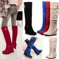 chic Womens Knee High Boots Faux Suede Slouch Platform Wedge Heels Riding Shoes
