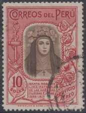 PERU 1936-37 SANTA ROSA DE LIMA Sc C39 Yvert PA28 TOP VALUE USED F,VF €212.50