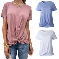 Women's Summer Shirts Blouse Casual Loose O Neck T-shirt Short Sleeve Tops