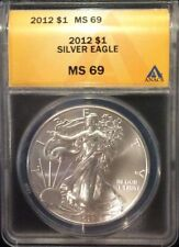 << 2012  AMERICAN EAGLE SILVER COIN, ANACS GRADED  HIGH MS69, 1 Oz. 999% Purity