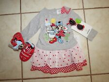 NWT GIRLS DISNEY SZ 9-12 MONTHS DRESS, SHOES, SUNGLASSES MINNIE MOUSE VALENTINES