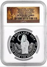 Prehistoric Animals 2014 Canada S$20 Woolly Mammoth Early Releases Coin. Pf70Uc