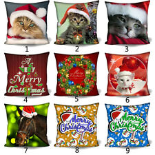 "Christmas Cat Cushion Cover Throw Pillow Case 18""x18"" for Sofa Home Office Decor"