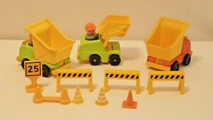 Vintage Fisher-Price Little People Construction Set with 3 trucks & 3 people