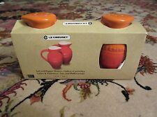 Le Creuset Salt & Pepper Shakers Volcanic Flame Red Orange NEW NIP