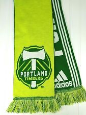 "Adidas Scarf Portland Timbers MLS Soccer One Size Unisex Logo Neon Green 60"""