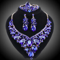 Women Bridal Jewelry Set For Brides Crystal Necklace Wedding Party Costume Sets