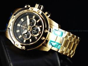 Invicta Men's 50mm SPEEDWAY SCUBA Chronograph Midnight Black Gold Tone SS Watch
