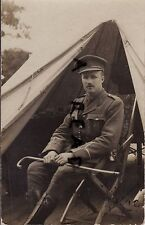 WW1 Officer 2/Lt Frederick George Jones ASC Army Service Corps beside bell tent