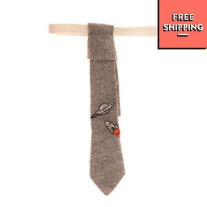 OFFICINA 51 Skinny Necktie Melange Effect Embroidered Hook Closure
