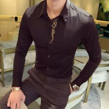 Men's Slim fit Embroidery Shirts Formal Blouses Party Clubwear Lapel Buttons New