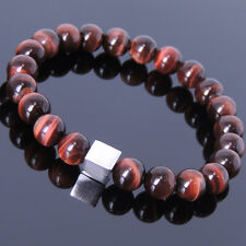 Red Tiger Eye Sterling Silver Cube Bracelet Mens Women Handmade DIY-KAREN 687