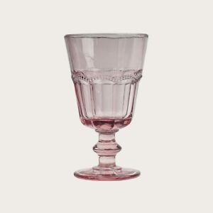 6 x Vintage Wine Glass Goblet in Pink