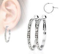Crystal Hoop Earrings - 30mm Diameter - Hypoallergenic 316L Surgical Steel BOXED