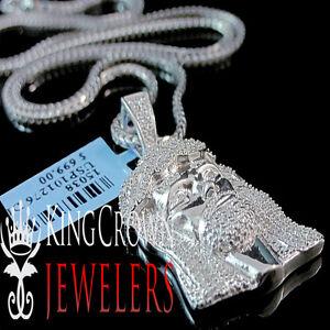 "Real Genuine Pave Diamond Jesus Piece Charm 10K White Gold Finish 1.50"" Pendant"