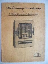Bedienungsanleitung 5-Schacht-Zigaretten-Verkaufsautomat 1957