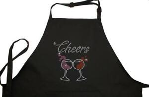 Rhinestone Embellished Black Apron with Cheers and Wine Glasses