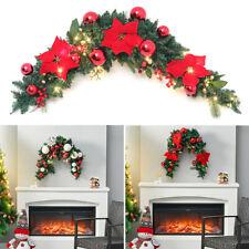 More details for artificial door window wreath pine foliage bauble hanging garland 3m light decor