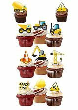 24 PRECUT CONSTRUCTION DIGGER BOYS STAND UP EDIBLE CUPCAKE FAIRY CAKE TOPPERS