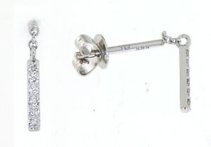 Solid 14K White Gold 0.11CT Real Natural Diamond Small Cute Dangling Earrings