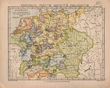 1899 VICTORIAN HISTORICAL MAP ~ GERMNAY PROTESTANTS & CATHOLICS 1618 STATES