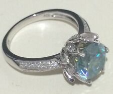 2.29CT Moissanite &Natural Diamonds Engagement Ring Solid 14k White Gold