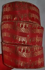 """Wired Ribbon~Christmas Red~Metallic Gold Music Notes~2.5""""~Holiday~Wreath~Bow"""
