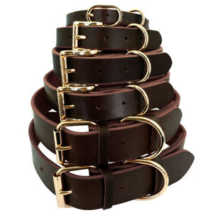 XS-XXL Soft Brown Genuine Leather Large Dog Pet Collars Pitbull Boxer Rottweiler