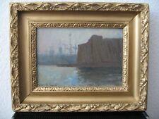 """OTTO HEINRICH ENGEL Gemälde """"Kieler Hafen mit U-Boot Bunker"""" Öl/Malpappe SELTEN"""