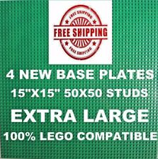 """Genuine LEGO piece-brick + 4 Green 15""""x15"""" Base plate 50X50 compatible with LEGO"""