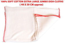 5 x EXTRA LARGE DOUBLE LAYERED 100% COTTON SOFT JUMBO CLEANING DISH CLOTHS 40x50