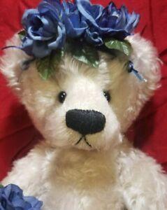 """Rosalie Frischmann """"Blue Garden Roses"""" OOAK Mill Creek Creations artist teddy"""