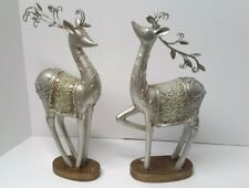 Standing Reindeer Statue Pair | Silver Colored Resin & Fire Glass | Set of 2