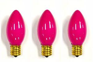 3-PK C9 INCANDESCENT Light BULB Christmas Yellow Teal Purple Pink PRETTY! NEW