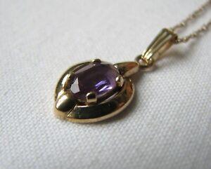 9 ct Gold & Amethyst Pendant & Chain