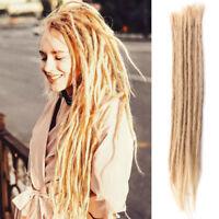 Long Human Hair Dreadlocks Extensions 100% Handmade Crochet Braided Dreads Women
