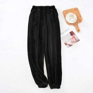 Mens Fleece Sleep Pants Flannel Pajama Plush Lounge Pants Coral Bottoms Trousers