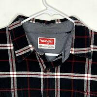 Wrangler Mens Flannel Shirt LS Black White Red Plaid Large