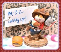 ❤️Wee Forest Folk M-312 Giddyup! Cowboy Mouse Hobby Horse Western Hat Retired❤️