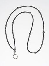 Hematite and Silver Beaded Lanyard - Handmade Beaded Lanyard