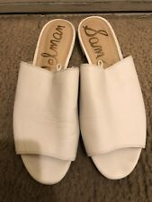 a1ff38b7aef4fe Sam Edelman Women s White Open Toe Slide Sandals Leather Size 7.5